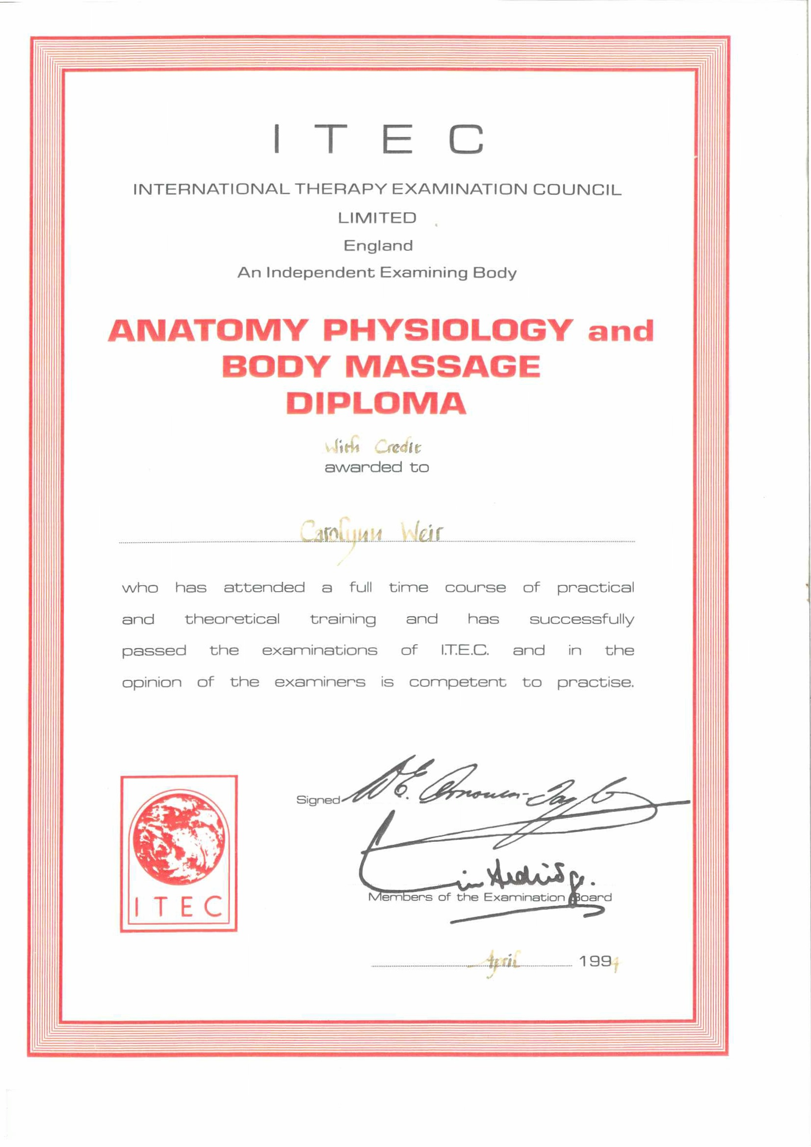 Certificate for ITEC